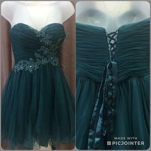 Alyce Paris Short Strapless Teal Tulle Dress Sz 4
